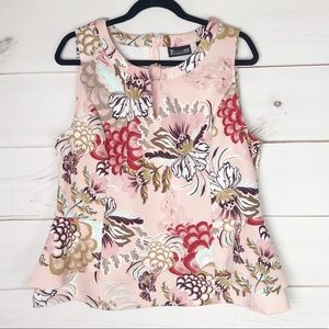 NWT 7th Ave NY&C pink floral peplum career top XL